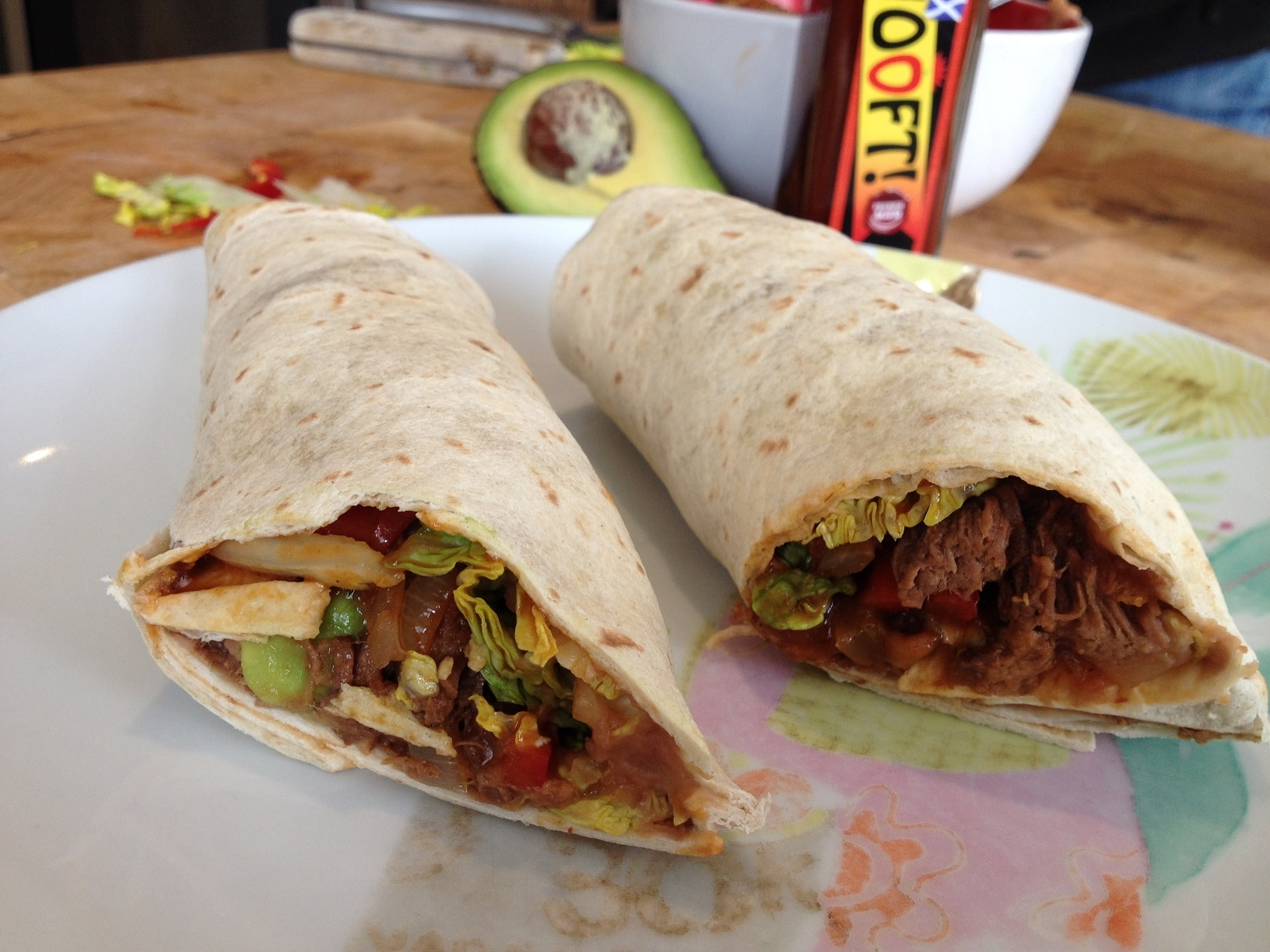 shredded beef tortilla wrap